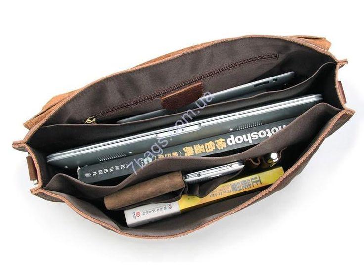 """Кожаная сумка, сумка для ноутбука, коричневая Кожаная сумка из коровьей кожи, может служить как сумка для 15"""" ноутбука, крепкий ремень для ношения на плече, застежки обманки"""
