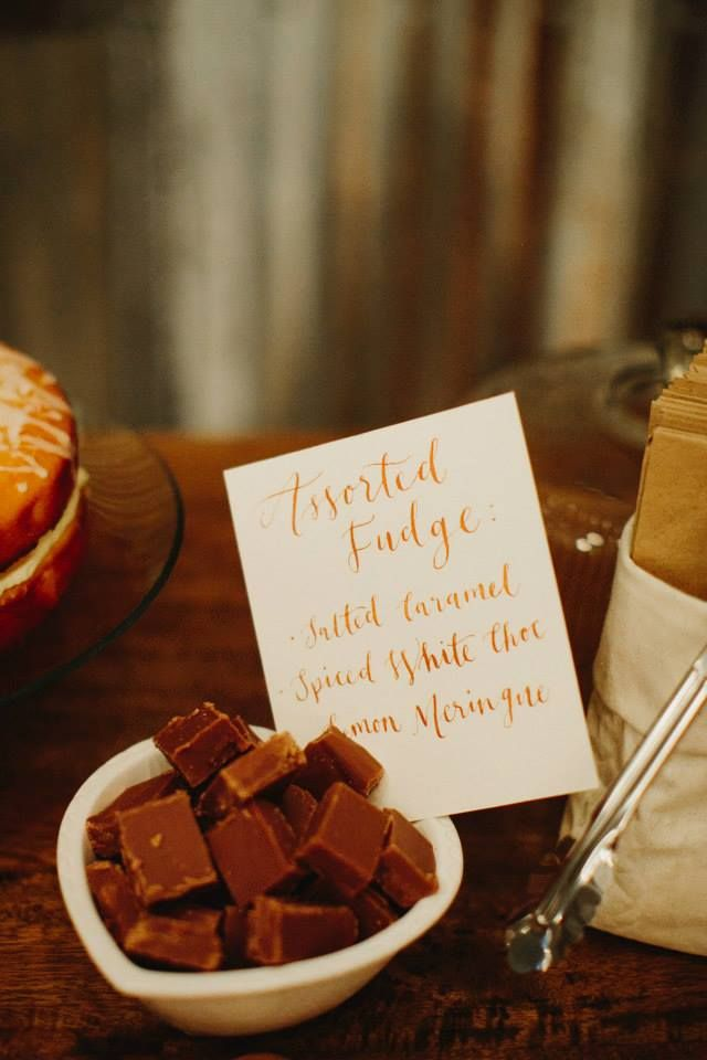 Nicole & Nigel Wakeley dessert buffet | calligraphy by Celebrations