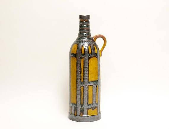 Very Rare XXL Handled Floor Vase by Heinz Siery for Carstens