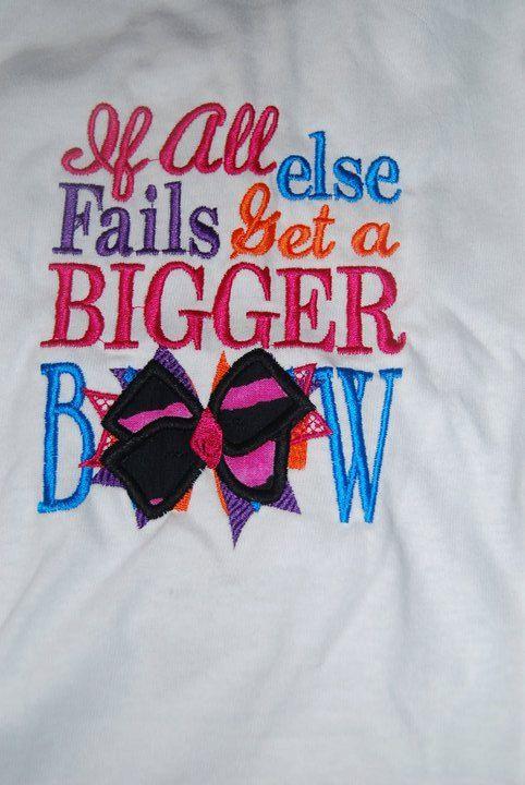 When All Else Fails Get a Bigger Bow  Bodysuit Onesie by caryskids, $14.99