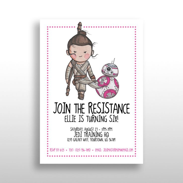 CUSTOMIZED PRINTABLE Star Wars Girl Invitations in Pink, Star Wars Invite, Girl Star Wars Birthday Party, Rey & BB-8, Download, .pdf + .jpg by darlingcustomprints on Etsy https://www.etsy.com/listing/489390789/customized-printable-star-wars-girl