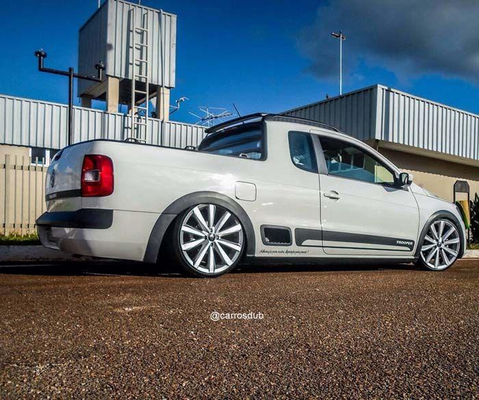 Carro: Volkswagen Saveiro Trooper Cor: Branco Marca da Roda: Volcano Wheels Modelo da Roda: Misty Marca do Pneu: Perfil do