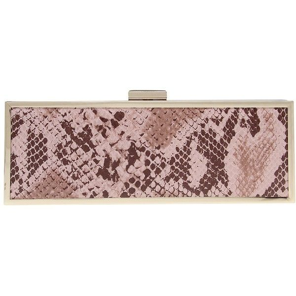 Carvela Glisten Snake Clutch Bag, Pale Pink (£39) ❤ liked on Polyvore featuring bags, handbags, clutches, handbag purse, snake purse, pale pink purse, special occasion handbags and man bag