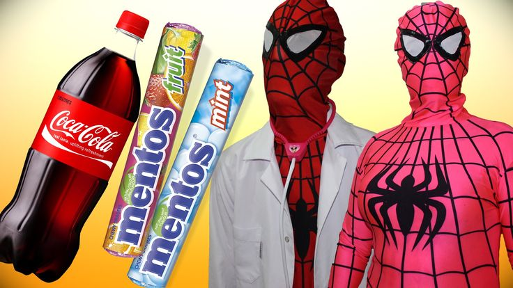 Spiderman & Spidergirl Coca cola Mentos Prank Funny Superhero Movie in R...