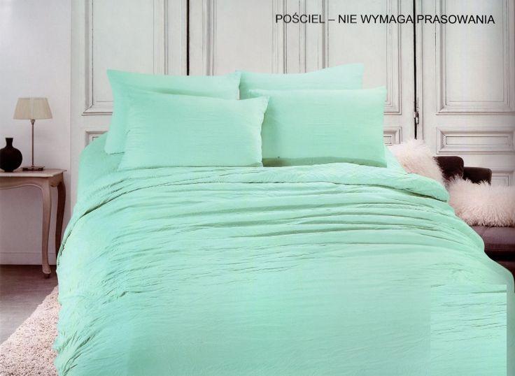 Miętowa pościel do sypialni na łóżko