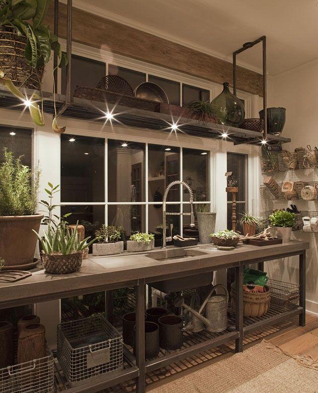 elegant, industrial greenhouse workspace... or kitchen?