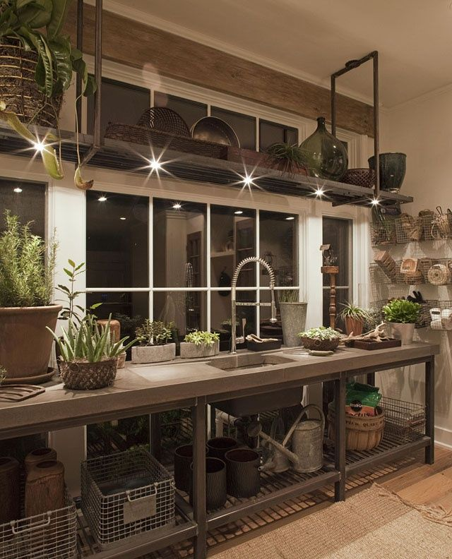 elegant, industrial greenhouse workspace... or kitchen?