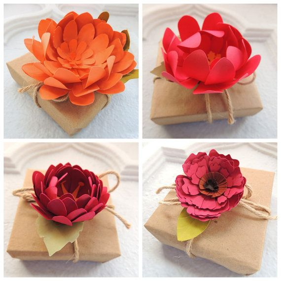 Creative Gift Topper - Paper Flower Autumn Colors