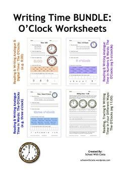 These worksheets are designed to be repetitive and interactive for your students so that they can learn how to write the o'clock times four different ways i.e. you can draw an analogue clock, you can write it in digital time using numbers and symbols (i.e. 7:00) and you can also write it in numbers and words (i.e. 7 o'clock and seven o'clock).In this series of worksheets children are to do the following:1) Trace the times in analogue time, digital time and in words,2) Write the times in…