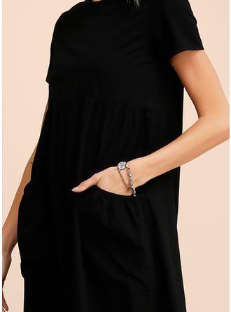 VERYVOGA Solid Short Sleeves Shift Midi Little Black/Casual Dresses 3