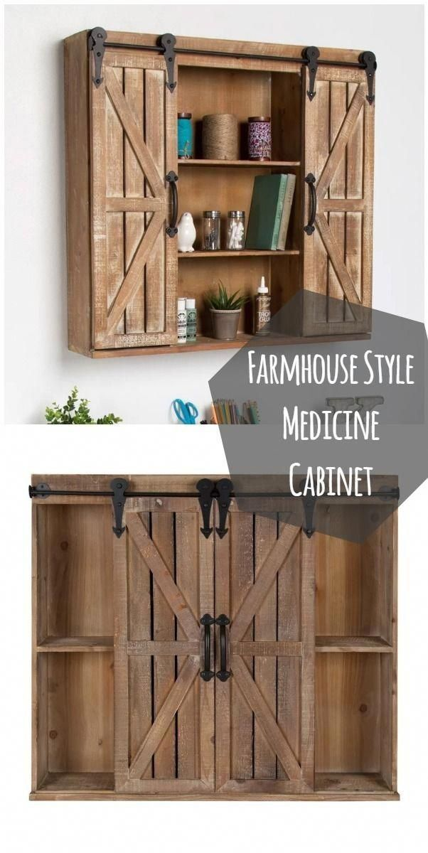 Love This Rustic Barn Door Style Medicine Cabinet Homedecor Home Decor Bathroomdecor Bat Bathroom Shelf Decor Bathroom Barn Door Rustic Medicine Cabinets