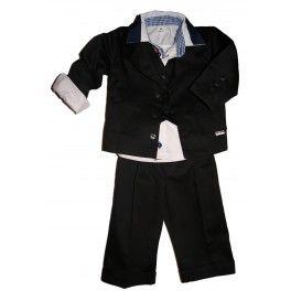 Garnitur dla dzieci, ubranka dla chłopców, czarny garnitur dla chłopca. Uszyty z bawełny, składa się z pięciu części