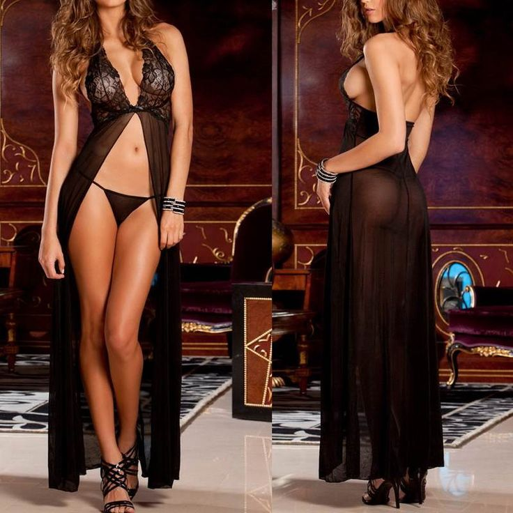 Long Nighties Exquisite Lace Sheer Mesh Gown Dress With Thong
