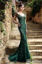 Glamorous sirena Formal Prom vestidos de encaje bordado con cuentas de encaje manga Cap illusion desnuda volver largo verde esmeralda de noche vestidos(China (Mainland))