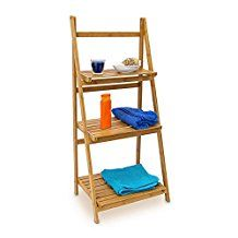 Relaxdays Bamboo Ladder Rack with 3 Shelves, 100 x 45 x 33 cm, Bathroom Shelving Storage Unit, Natural Brown