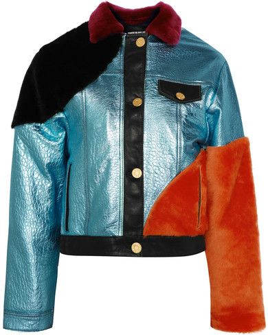House of Holland - Shearling-paneled Metallic Textured-leather Bomber Jacket - Light blue