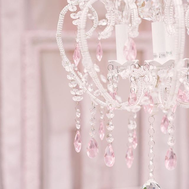 Add Shabby Chic stlye to your wedding with this pretty pink crystal chandelier.