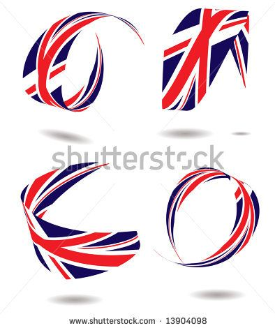 British flag wrapped around itself with a drop shadow - stock vector