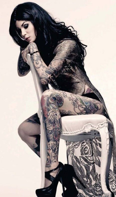 Kat Von Dee, her life story is told threw the beautiful artwork that she's chosen to display for all the world to see, on her body. Her joys, her sorrow,when she was sad or when she was gloriously happy.