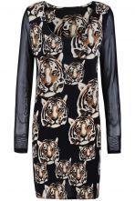 Black Contrast Long Sleeve Tigers Print Dress US$22.95