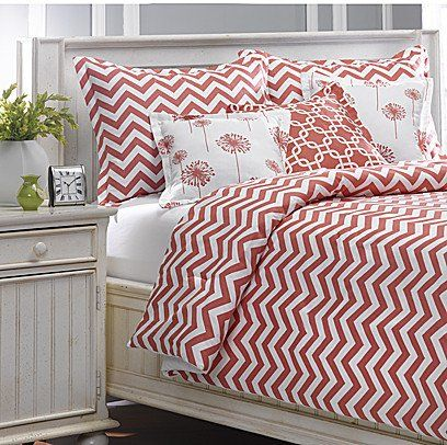 Coral Chevron Oversized Twin Bedding   Sham. Perfect for dorm or college dorm twin extra long beds.
