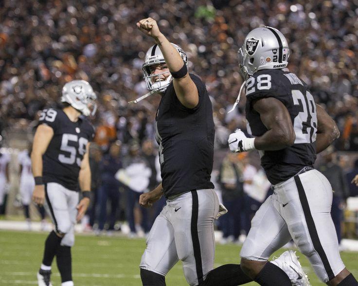 Nov 6, 2016; Oakland, CA, USA; Oakland Raiders quarterback Derek Carr (4) celebrates after a touchdown in the second quarter against the Denver Broncos at Oakland Coliseum.  (2624×2099)