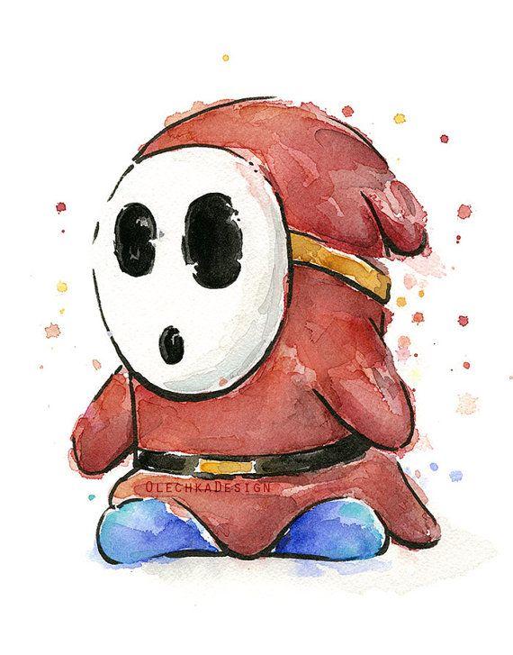 Shy Guy Watercolor Art Print, Geek Videogame Nintendo ShyGuy Mario Decor