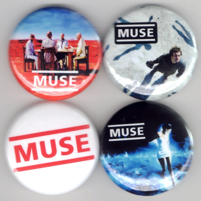 Muse - Set of 4 - Showbiz Absolution Black Holes and Revelations Alternative Buttons Pins Badges Pinback.