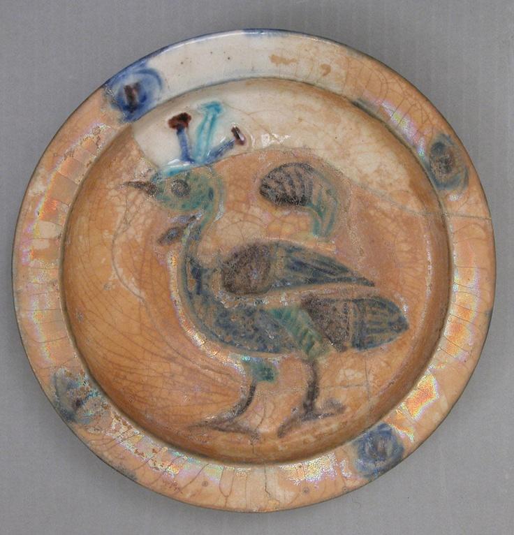 12th century, Syria, dish. Earthenware, glazed. H. 1 7/8 in. (4.8 cm) Diam. 8 7/8 in. (22.5 cm). Metropolitan Museum of Art. Accession no 29.160.17