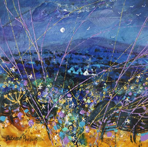 """Indigo Moonrise"" by Deborah Phillips (Archive Gallery) - Acrylic"