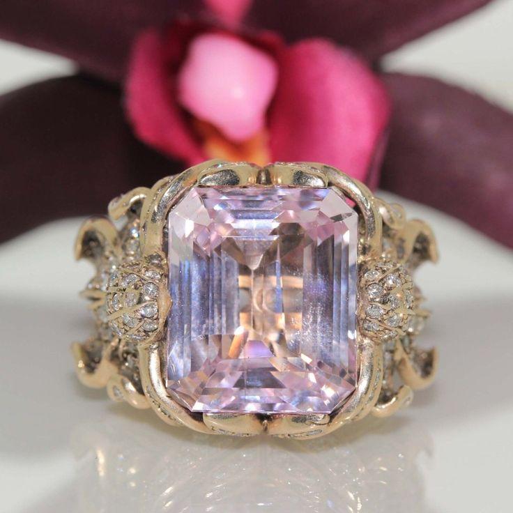 Designer Zolotas 18k Gold Pink Kunzite Vs Diamond Ring Kunzite Jewelry Colored Stone Rings Vs Diamond