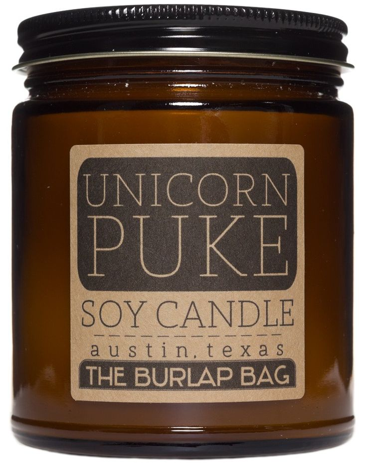 UNICORN PUKE SOY CANDLE What does Unicorn Puke smell like? Well, it smells amazing, obviously!!! Kind of like a combination of rainbows, glitter, jolly ranchers and cotton candy. This hand-poured, all natural soy candle is made right here in the USA by The Burlap Bag. AND it has 70 hours of burn time, so you'll be able to fill your whole house or office with the scent of prancing unicorns for weeks! $16.00 #housewares #candle