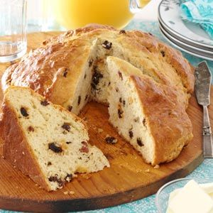 Irish Soda Bread Recipe -An Irish meal wouldn't be complete without a lovely loaf of Irish Soda Bread. This recipe makes a beautiful high loaf of bread dotted with sweet raisins. It doesn't last long at our house this time of year. —Gloria Warczak, Cedarburg, Wisconsin