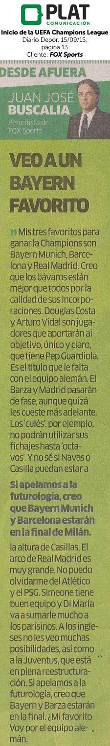FOX Sports: Inicio de UEFA Champions League en el diario Depor de Perú (15/09/15)