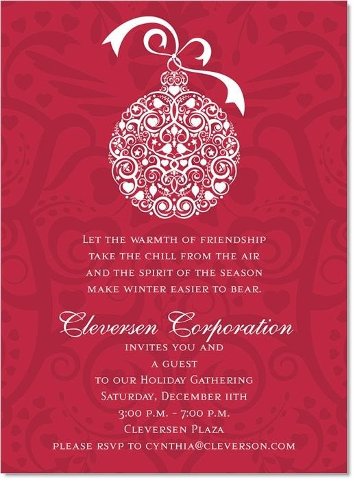 Filigree Ornament Red Invitation #office #business #corporate #holiday #party #invitation