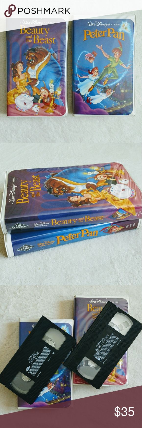 Diamond Collection Beauty & the Beast / Peter Pan Set of 2 This set features the diamond collection version of Beauty and the Beast and Peter Pan on VHS. The clamshell boxes are in good condition with a corner of the Peter Pan box sunken in (please see last picture). The artwork is also in good shape with only minor wear and tear.  Tags: diamond collection, Disney, Walt Disney, beauty and the beast, Peter pan, classic, movies, set of 2, clamshell VHS, 90s Disney Other