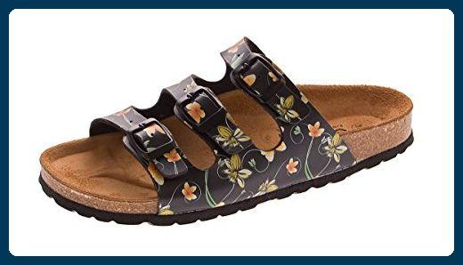 Damen Bio Pantoletten Gemini Clogs Schuhe Leder-Kork-Fußett Sandalen Latschen Schwarz Gr. 41 - Clogs für frauen (*Partner-Link)