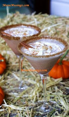 Pumpkin Pie Spiced Martini - It's like having pumpkin pie in a glass!  Rich and creamy with the warm spices of Fall! Step-by-step photos.
