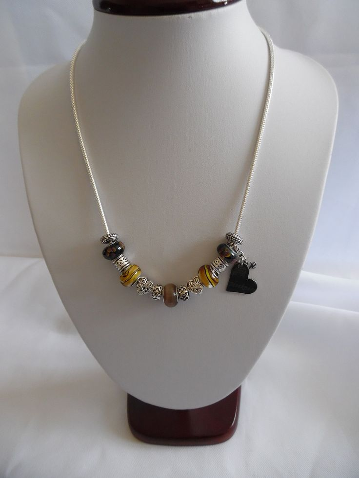 Collier charm', perles en verre Pandora marron et métal argenté, Chaîne en plaqué argent : Collier par crea-039-martine