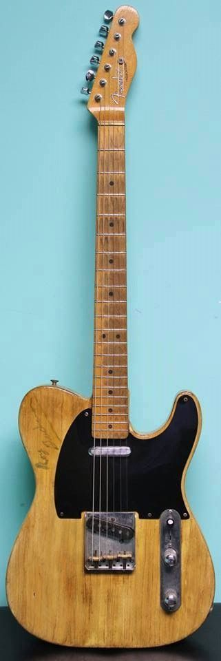 """1952/1967 Fender® Telecaster® (US $75.000) This is the Roy Buchanan owned/played/signed '52 Fender Telecaster. 25.5"""" scale. 1 5/8"""" nut width. 7.8 lbs. As this was one of Roy's personal guitars, he modified it a bit – '67 Tele neck with jumbo fretwire, 80's pots, brass nut... From Nashville cleans to overdriven blues – just an incredible piece of history and an amazing player."""