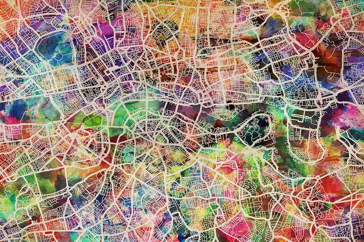 London Map Art Watercolor Digital Art