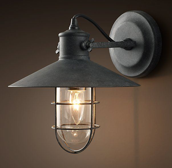 RHu0027s Harbor Sconce:Built With The Same Quality As The Wharf Lights That  Inspired It, Harboru0027s Squall Proof, Weathered Zinc Finished Metal Surrounds  A Clear ...