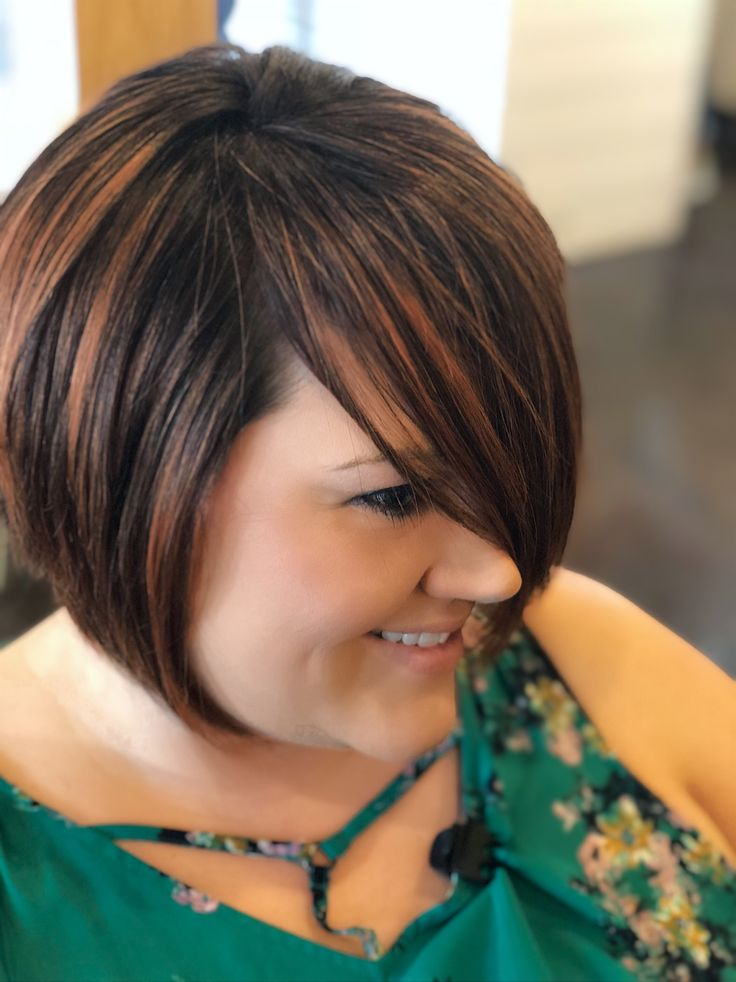 Short Stacked Bob Haircut with Copper Red Highlights | Short stacked bob haircuts, Bobs haircuts ...