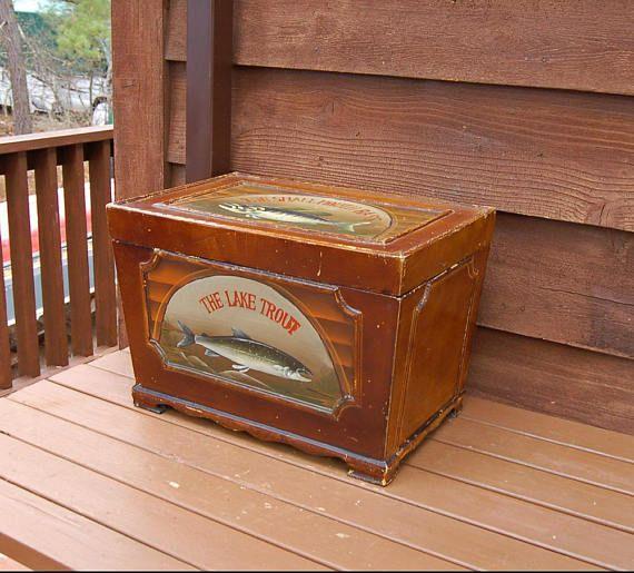 Wood Trunk Box Vintage Fishing Cabin Box Storage Trunk Man