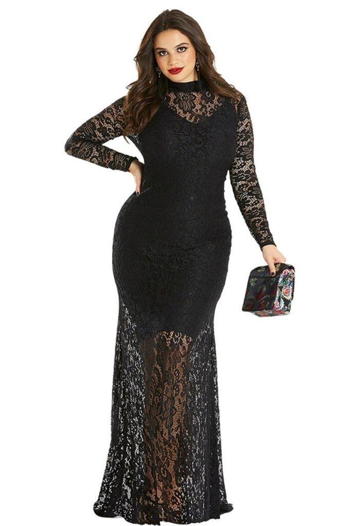 7a24c745235 Black Plus Size Lace Fishtail Maxi Evening Dresses in 2019