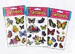 TATTOOS-BUTTERFLIES - EACH PACKAGE SOLD SEPERATELY by Toysmith. Save 81 Off!. $3.41. Beautiful Graphics. Ages 5 and up. Easy to apply and remove. Bright Colors. Non-Toxic. These temporary butterfly tattoos are for the person who wants one, but does not want one permanently. Easy to follow directions and easy removal. Great for children parties, grab bags, and stocking stuffers! For ages 5 and up.