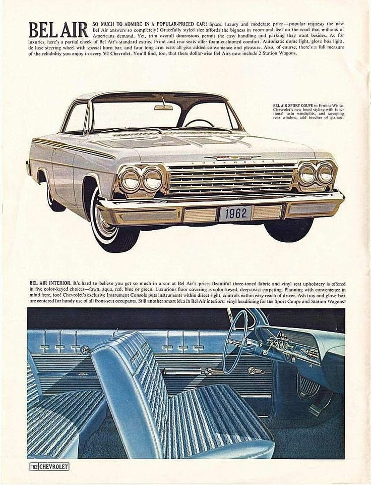 1962 Chevy Bel Air Ad Classic cars chevy, Classic chevy