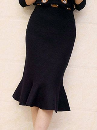 Mermaid Solid Knitted Elegant Skirt