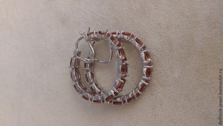 Купить Серебряные серьги-кольца с султанитами - разноцветный, серьги-кольца, серьги с султанитом, султанит, диаспор