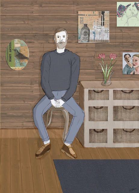Ich dabei und zwischendrin!: Sitzender Mann im Holzzimmer Neue Kunst auf meinen Blog! http://oliverloos.blogspot.de  #art #artwork #berlin #berlinart #kunst #illustration